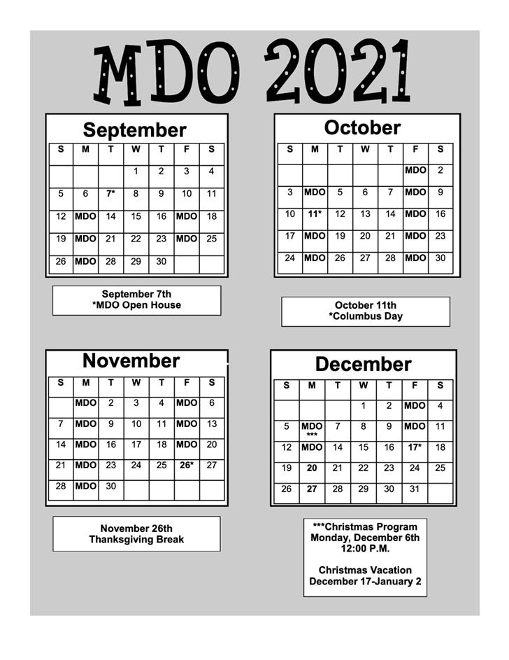 MDO Calendar